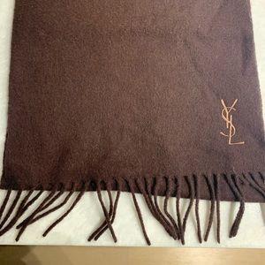 Yves Saint Laurent wool scarf brown